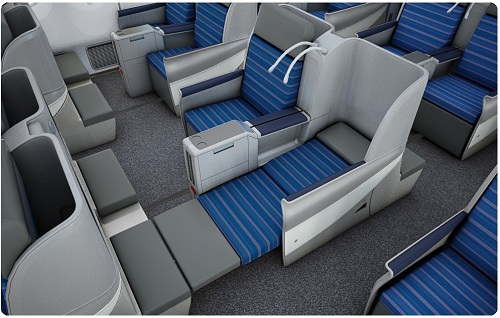 business class seat on Lot Polish Airlines Lay flat